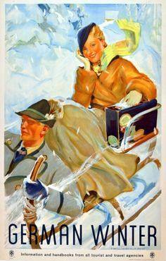 German Winter, 1930s - original vintage poster listed on AntikBar.co.uk