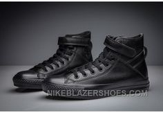 premium selection b6508 bea64 Full Black All Star CONVERSE Single Buckle Leather High Discount 3Ti3d. Nike  Schuhe ...