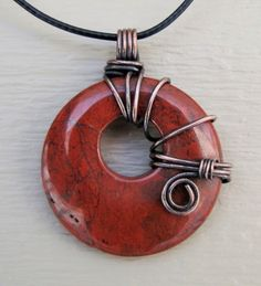 wire+wrapped+donut | Round Red Jasper Donut Wire Wrap Pendant - Copper Wire Wrapping