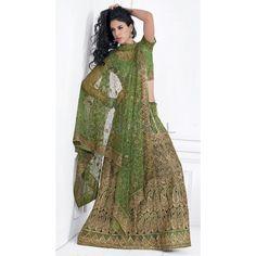 Green Net #Lehenga With Matching Choli And Dupatta  #IndianLehenga #WomenClothing #EthnicWear #WomenWear #WomenFashion