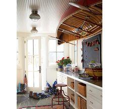 Slate floor + beadboard ceiling