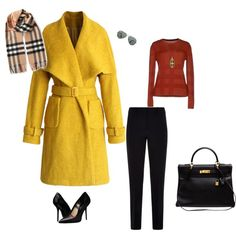 I want a yellow coat by heather-dthb on Polyvore featuring Burberry, Chicwish, Armani Collezioni, Hermès, Ila&I and Ray-Ban