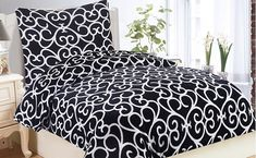 Oblieček Mikrovlákno a Mikroflanel Venezia black, i-matrace. Comforters, Blanket, Bed, Home, Creature Comforts, Quilts, Stream Bed, Ad Home, Blankets