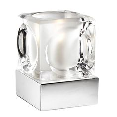 Ice Cube Touch Table Lamp With Frosted Glass Shade