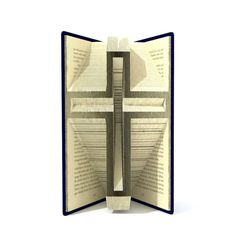 Book folding pattern - Cross Crucifix - 179 folds + Tutorial with Simple pattern - Heart - RE0101