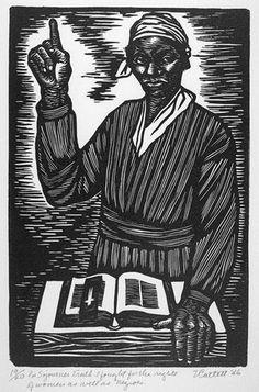 -printmaking, b & w  Elizabeth Catlett, 'Sojourner Truth (from Black Woman Series),' 1947, linocut