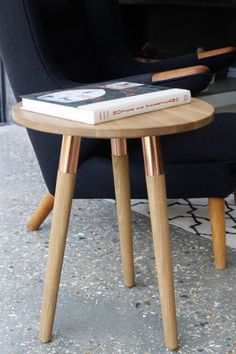 Range Round Coffee Table, Oak and Copper | made.com