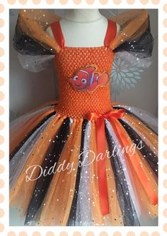 Finding Nemo Tutu Dress Sparkly Tutu Dress Dory Costume Party Find Dory Costume #DiddyDarlings #CasualFormalParty