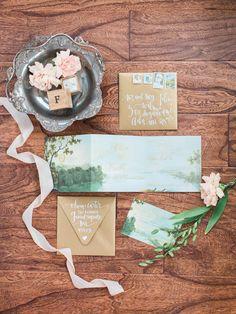 wedding invitation and envelope - photo by Bradley James Photography http://ruffledblog.com/autumn-lakeside-proposal