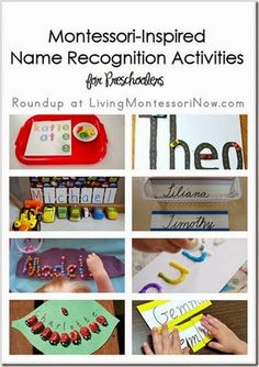 Roundup of circle-time name activities for getting acquainted and Montessori-inspired name recognition activities for preschoolers. Preschool Name Recognition, Preschool Names, Montessori Preschool, Preschool Learning, Literacy Activities, In Kindergarten, Kids Learning, Preschool Ideas, Montessori Education