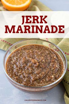 Jerk Marinade - Bold Jamaican Flavor - Get a blast of Caribbean flavor with this Jamaican jerk marinade recipe made with fiery scotch bonnet peppers and a blend of piquant seasonings Marinade JamaicanFood Spicy via jalapenomadness Jamaican Jerk Marinade Recipe, Jerk Chicken Marinade, Jamaican Jerk Seasoning, Chicken Marinade Recipes, Rub Recipes, Cooking Recipes, Marinade Sauce, Carribean Jerk Marinade Recipe, Authentic Jerk Seasoning Recipe