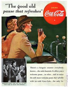 Haddon Sundblom Soda Fountain Coca Cola Coke Bargain Counter 1938 Magazine Ad