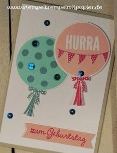 """Stempelkrempel mit Papier Geburtstagskarte mit Luftballons, Stempelset """"Wir feiern"""""""