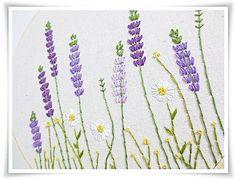 Margarita lavanda de jardín jardín mano bordado en arte de la