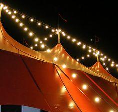 Big top tent with globe lights