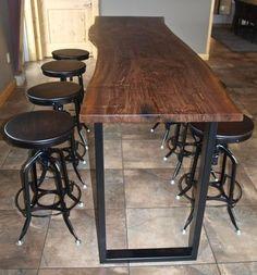 cabana- Custom Made Live Edge Walnut Bar Height Table