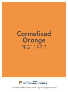 Carmelized Orange paint color PPG1197-7 from PPG Pittsburgh Paints. Vivid orange exudes energy & stimulates activity, making it a good choice for socializing spaces like kitchens & living rooms, as well as exercise areas. This hue of orange stands out & can dominate a room, so use them thoughtfully & complement them with greens, blues or neutrals.