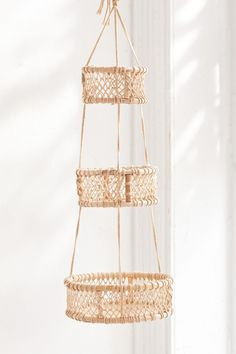 Shop Three Tier Hanging Basket at Urban Outfitters today. Urban Outfitters, Rental Kitchen Makeover, Kitchen Redo, Kitchen Ideas, Hanging Fruit Baskets, Room Divider Screen, Macrame Projects, Diy Holz, Dinnerware Sets