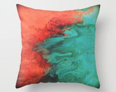 Teal and Coral Throw Pillow - Pillow cover - Modern home decor