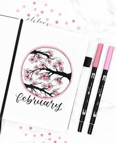 February Bullet Journal Cover Page Ideas - The Smart Wander Bullet Journal Agenda, Bullet Journal Weekly Spread, Bullet Journal Cover Ideas, February Bullet Journal, Bullet Journal Aesthetic, Bullet Journal Notebook, Bullet Journal Inspo, Bullet Journal Layout, Journal Covers
