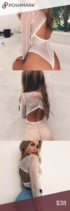 'Kristina' White Lace Long Sleeve Bodysuit Brand new.  No trades  I ship same day ☝ I only sell on posh  I offer 10% off bundles of 3+ items ❓Comment with any questions! Tops