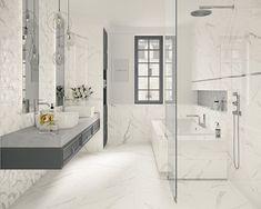 Galeria łazienek - zdjęcia, gotowe projekty - Domni.pl Double Vanity, Divider, Bathtub, Bathroom, Furniture, Home Decor, Room Interior, Standing Bath, Washroom