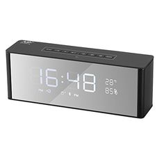 🎸5 in 1 Alarm Clock Radio: LED Display Alarm Clock + Blutooth V4.2 Speaker + FM Radio + MP3 Player + MAKE-UP Mirror. Built-in 2200mAh battery, support sustainable play 6H theoretically. Big Digit Alarm Clock with Dual Alarm, 12/24H two Display Mode and Sleep Mode. Can be used as MP3 Player with TF Card input. Alarm Clock Alarm Clock Alarm Clock 🎸Bluerooth 4.2 Speaker: Bluetooth 4.2...