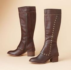 """Kork-Ease® interprets the trendy cuffed boot with consummate flair, ornamenting this Italian leather spat-smart style with antiqued metal nailheads. Inside zip, cushioned footbed, leather sole with non-slip rubber inserts at toe and 2-3/4"""" heel. Made in the USA. Whole sizes 7 to 11.View our entire"""