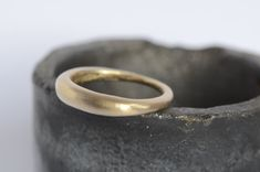 18 kt curved modern gold wedding band  commitment  by WyckoffSmith