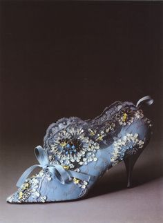 """HERITAGE Friday: #RogerVivier """"Evening Boots"""" from 1962 in Blue Satin, Sequins, Pearls and """"Chantilly"""" Lace as seen at Metropolita Museum of Art"""
