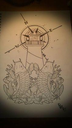 Japanese Koi Fish and Lighthouse tattoo design