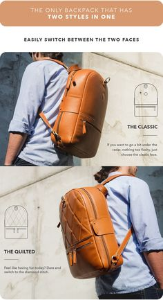 2 faces and over 15 features. The new backpack is customizable and perfect for travel or for the city! Men's Backpack, Leather Backpack, Handbags For Men, Have Fun, Two By Two, Faces, Backpacks, City, Travel