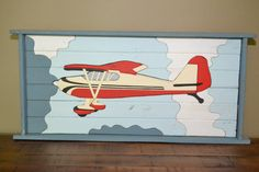 Wooden picture of airplane - great to decorate a little boy room
