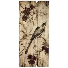 Bring Old World charm to your foyer, living room, or study with Oiseaux Wall Décor II, showcasing a lovely bird silhouette, lush floral detail, and a weathered finish for antiqued appeal.   Product: Wall art   Construction Material: Wood   Finish: Brown tones   Features: Provencal charmWill enhance any space Size: 20.1 H