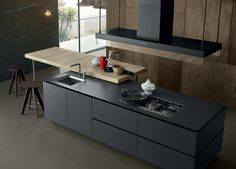 Dark contemporary kitchen. Artex by Poliform - Varenna