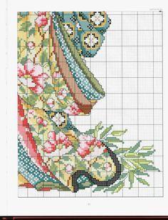 Geisha and Bird part 4 Cross Stitch Angels, Cross Stitch Tree, Just Cross Stitch, Cross Stitch Alphabet, Cross Stitch Charts, Cross Stitch Designs, Cross Stitch Patterns, Diy Embroidery, Cross Stitch Embroidery