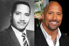 Dwayne Johnson at Freedom High School in 1990 and Dwayne Johnson, a.k.a. The Rock, in 2012
