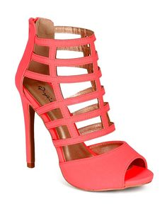 Qupid CB54 Women Nubuck Open toe Strappy Caged Platform Stiletto Sandal - Neon Coral *** Read more at the image link. #sandals