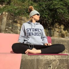 #calm #girl #hat #healthy #hoodie #lotus position #meditation #outdoors #pose #yoga