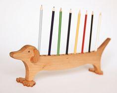 Wood Pen Holder Dachshund /Desk Organizer /Pencil Holder Desk Tidy /Office Desktop Organizer / Great Gift Idea