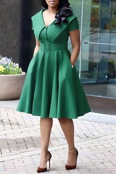 Shop latest fashion woman dresses Solid Color Turndown Collar Dress (With Belt) … Short African Dresses, Latest African Fashion Dresses, Women's Fashion Dresses, Dress Outfits, Woman Dresses, Maxi Dresses, Latest Fashion, Summer Dresses, Wedding Dresses