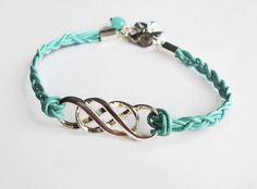 """Armbänder - Lederarmband silber """"Intertwine Infinity"""" hellblau - ein Designerstück von kirschrot-schmuckdesign bei DaWanda"""