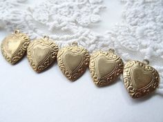 5 Small Etched Vintage Gold Metal Heart Charms Floral by BuyDiy, $3.99