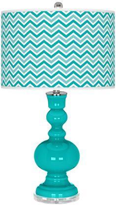 Turquoise Narrow Zig Zag Apothecary Table Lamp - $150