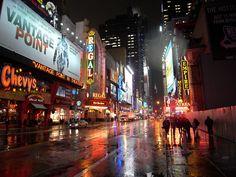 Rain on 42nd Street