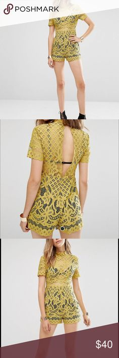 Gorgeous Lace high neck romper in chartreuse Lightweight lace Unlined sheer top High neckline Short sleeves Split back design Zip-back fastening Lined shorts Regular fit - true to size Hand wash 100% Nylon I'm in pic 4 / 5ft 10 / Excellent condition / worn once misguided Pants Jumpsuits & Rompers