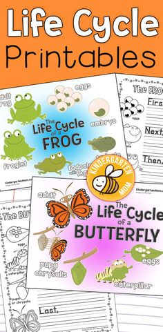 Free Life Cycle Printables for Kindergarten!  Print these beautiful charts, coloring pages, writing prompts, life cycle minibooks and more.  Frogs and Butterflies https://kindergartenmom.com/science-printables/life-cycle-printables/?utm_campaign=coschedule&utm_source=pinterest&utm_medium=Preschool%20Kindergarten%20Mom&utm_content=Life%20Cycle%20Printables