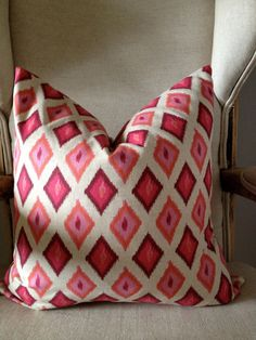 Pink and Orange Ikat Pillow -  18'' Cover. $40.00, via Etsy.