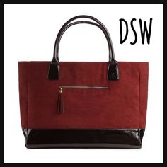 """NEW DSW """"Suite"""" Faux Suede and Leather Tote Brand new, bag did not have tags when bought • Faux burgundy suede and black patent upper • Front zip pocket with tassel accent • Textile lining • Dimensions 22"""" x 5"""" x 14"""" • Willing to negotiate and bundle DSW Bags Totes"""