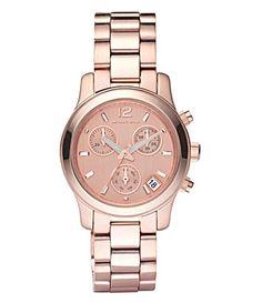 "A sleek rose (or yellow) ""gold"" watch, like this Michael Kors ""Runway"" watch from Dillard's.  No rhinestones, please."